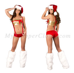 C165 Roma Costume Christmas Sexy Suspender Shorts Bow Top Set MyStripperCloset.com 1