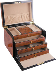 Large Wooden Jewellery Box with Draws