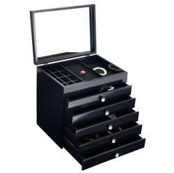 Black Gloss Jewellery Box with Draws