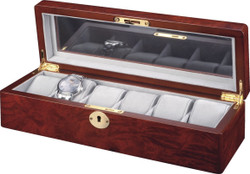 Glass Top Watch Box for 6 Watches