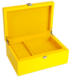 Yellow Jewellery Box with Tray