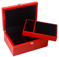 Red Jewellery Box with Tray