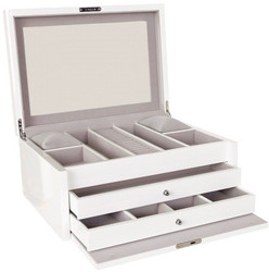 Extra Large White Lockable Jewellery Box