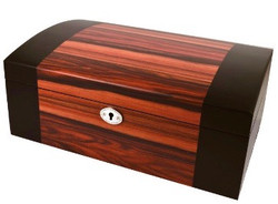 Black Edged Wooden Chest Jewellery Box
