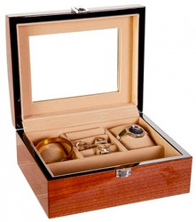 Chestnut Brown Wooden Jewellery Box with Mirror
