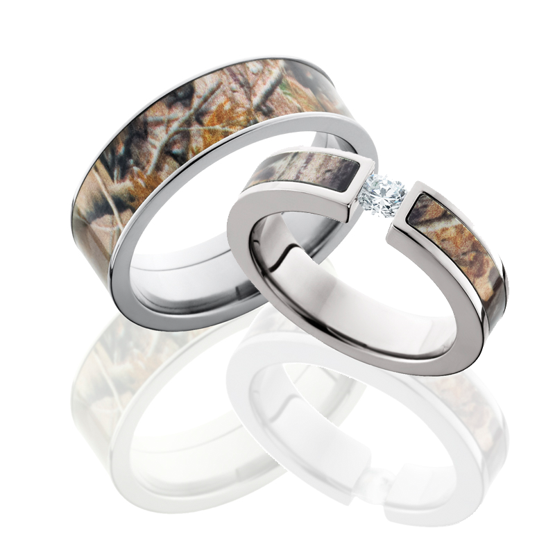 Camo Wedding Rings Sets: His And Hers Camo Wedding Ring Sets