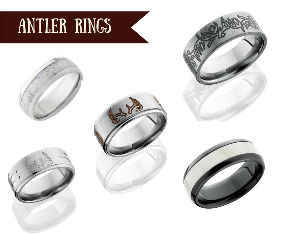 antler rings - Country Wedding Rings