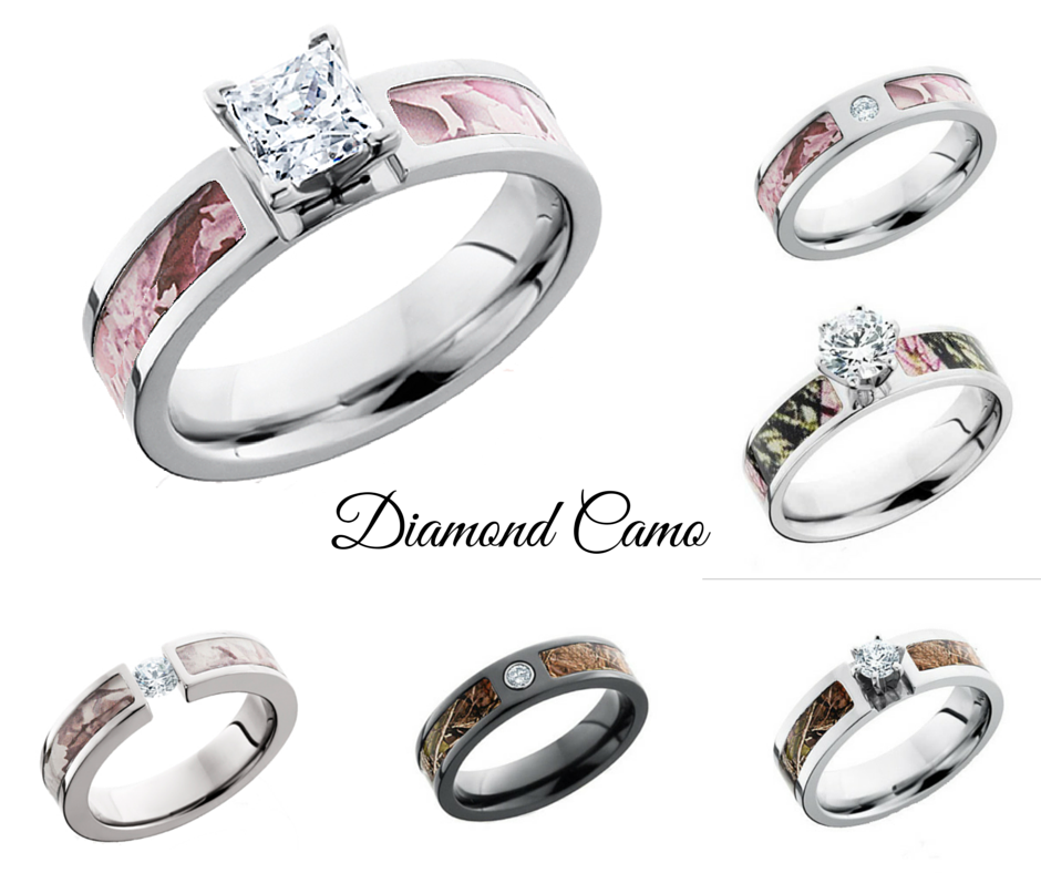 diamond camo rings - Country Wedding Rings