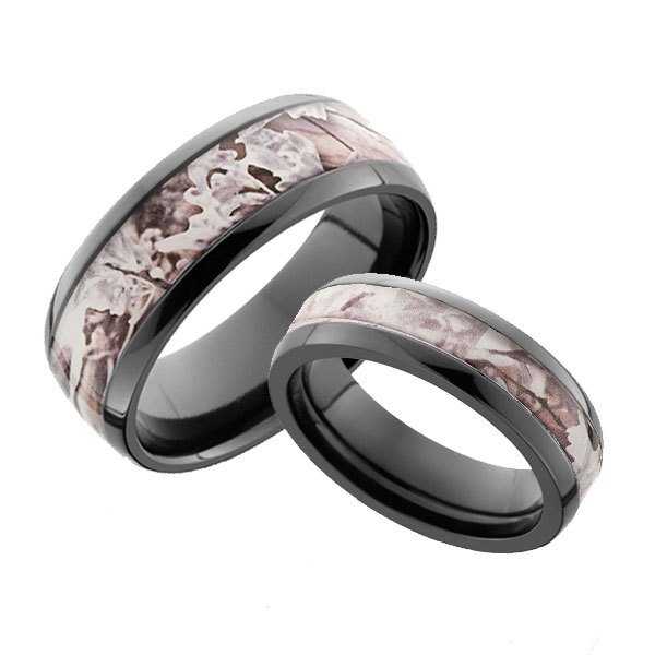 His & Hers Black Zirconium Snow Camo Ring