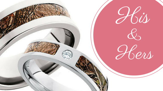 His and Hers Camo Wedding Ring Sets CAMOKIX