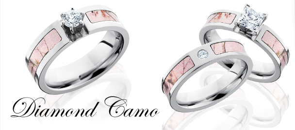 Pink Camo Wedding Ring With Real Diamonds Ringscladdagh