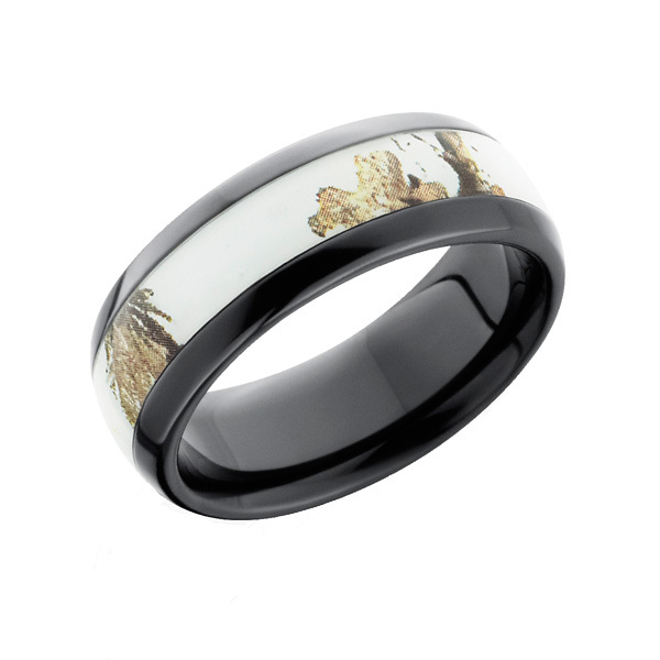 Awesome Realtree AP Snow Camo Black Camo Ring Domed
