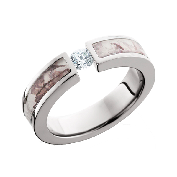 snow camo diamond ring tension set - Mossy Oak Wedding Rings