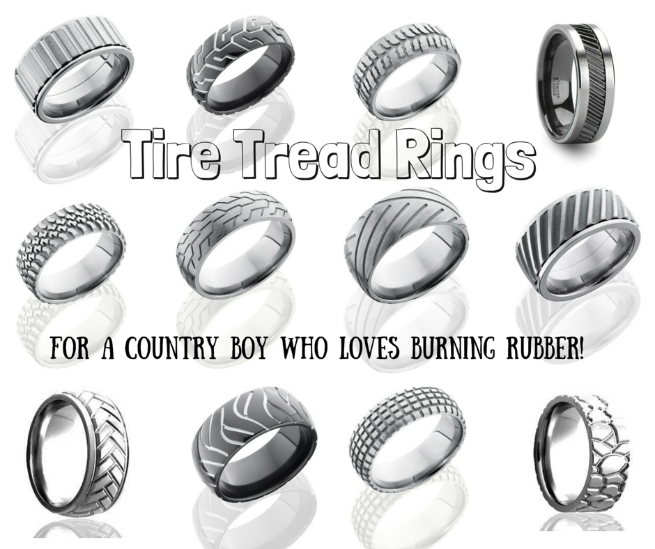 tire tread rings - Country Wedding Rings