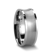 8mm Concave Satin Tungsten Carbide Ring main image