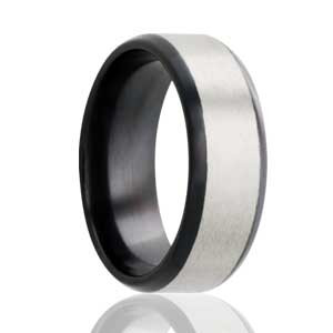 Black Zirconium with Satin Stripe Ring