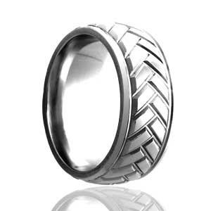 Milled Herringbone Domed Ring