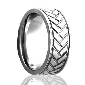 8mm flat ring with herringbone pattern