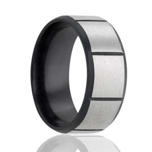 Black Zirconium with Satin Squares Ring