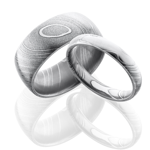 Damascus Steel Wedding Ring Set Free Shipping CAMOKIX