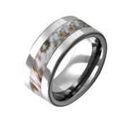 Flat Tungsten Snow Camo Ring