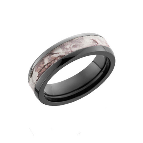Ladies Black Zirconium ring with King's Snow Shadow Camo