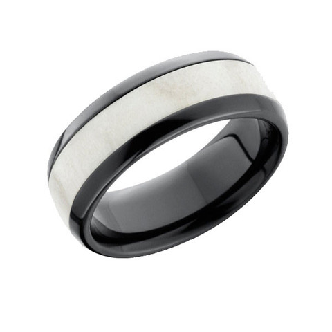 Antler Inlay Black Zirconium Ring