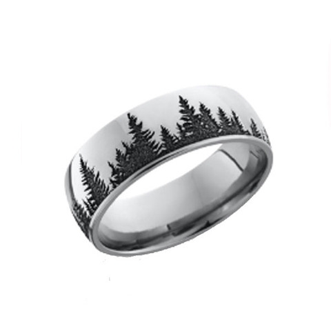 8mm Polished Cobalt Chrome Tree Scene Ring