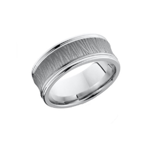 8mm Tree Bark Ring with Polished Grooved Edges