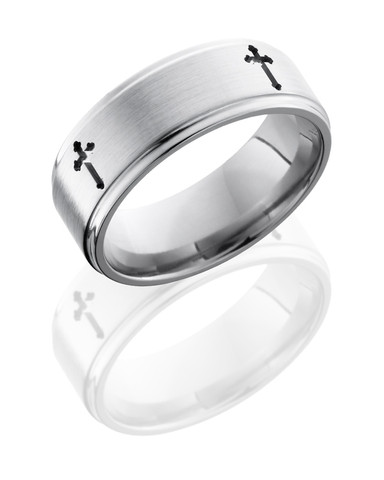 Titanium Ring with 4 Crosses