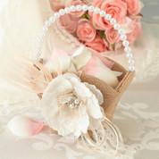 Burlap & Lace Flower Basket