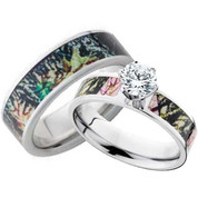 His and Hers CZ Camo Wedding Ring Set