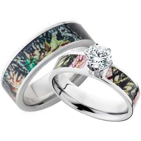 his hers mossy oak ring set with cz - Camo Wedding Ring Sets