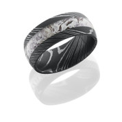 9mm Damascus Steel ring  with King's Snow Shadow camo