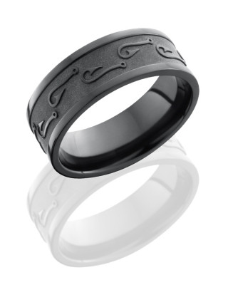 7mm Black Zirconium Fish Hook Ring