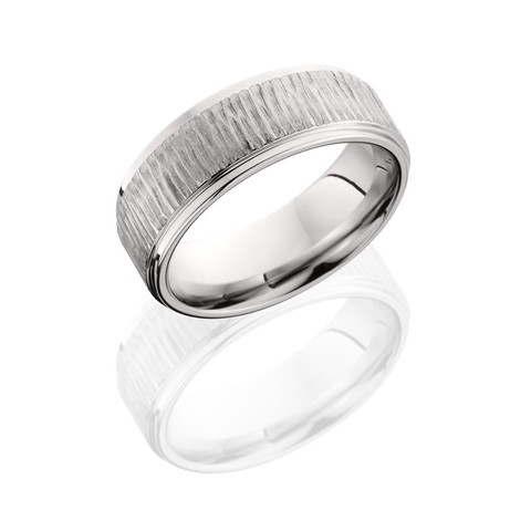 Brushed Cobalt Chrome Tree Bark Ring with Grooved Edges