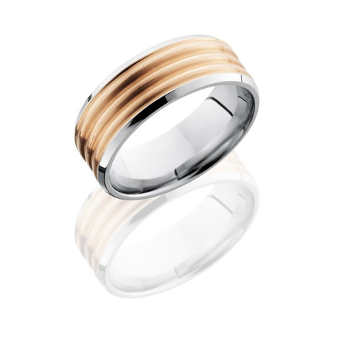 Satin and Polished Finish Beveled Edge Cobalt Chrome Ring with 14K Rose Gold