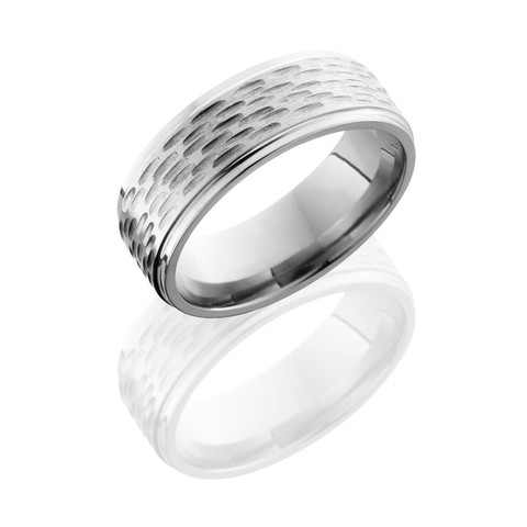Polished Titanium Disc Ring with Grooved Edges