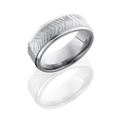 Grooved Edge Satin Polish Titanium Disc Ring
