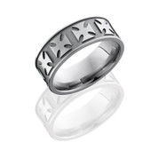 Titanium 8 mm Flat Band with Maltese Cross Pattern