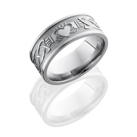 Titanium 9 mm Flat Band with Claddagh Celtic Pattern in sand and polished finish