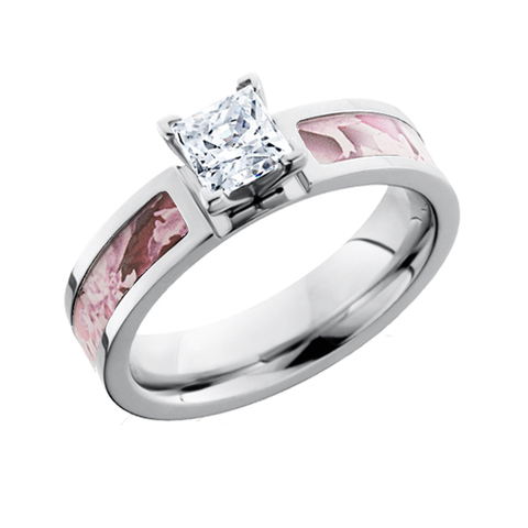 Pink camo princess cut diamond engagement ring free for Princess cut pink diamond wedding rings