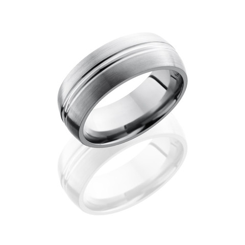 Titanium 8 mm Domed Band with Polished Domed Center and Satin Finish