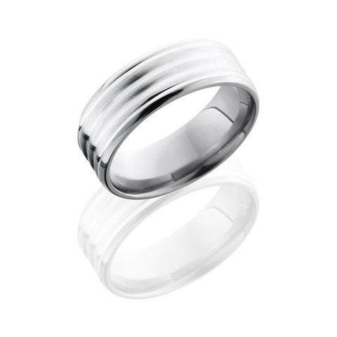 Titanium 8 mm Beveled Band with 6 mm Sterling Silver Inlay