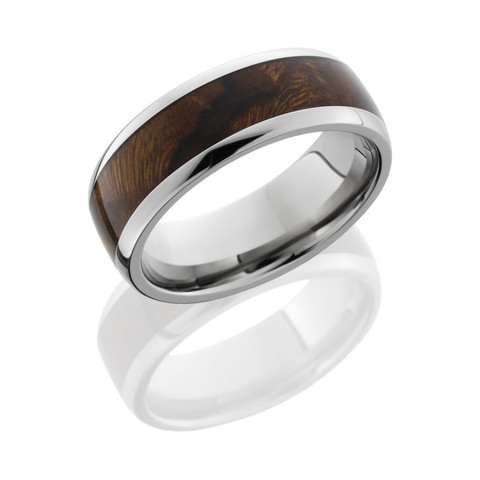 8mm Titanium Domed Band with 5mm Desert Ironwood Burl Wood