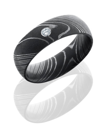 8mm Dark Damascus Steel Diamond Wedding Band