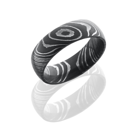 Damascus Steel 7 mm Domed Band with Acid Finish