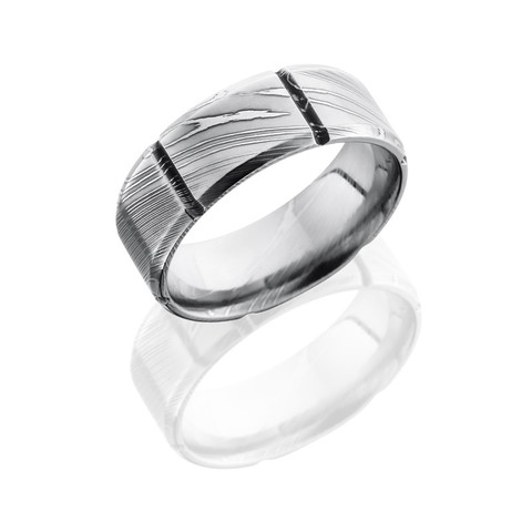 8 mm Segmented Pattern Polished Damascus Steel Ring