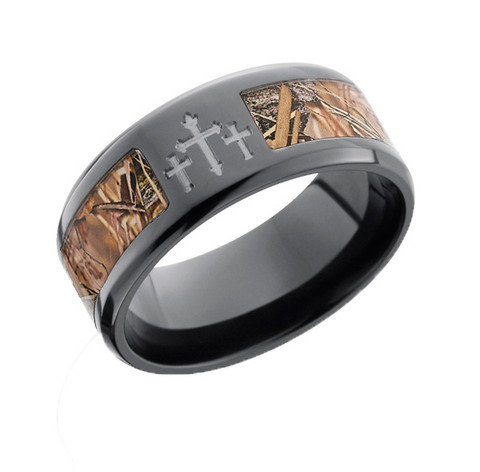 black camo ring with crosses kings field shadow - Camo Wedding Ring Sets For Him And Her
