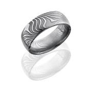 8 mm Flat Twist Patterned Polished Damascus Steel Domed Band